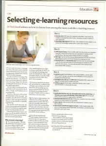 Selecting e-learning resources article, published in GP magazine December 2014
